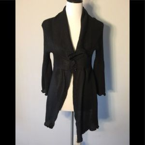 52 Weekends Long Black Cardigan size L